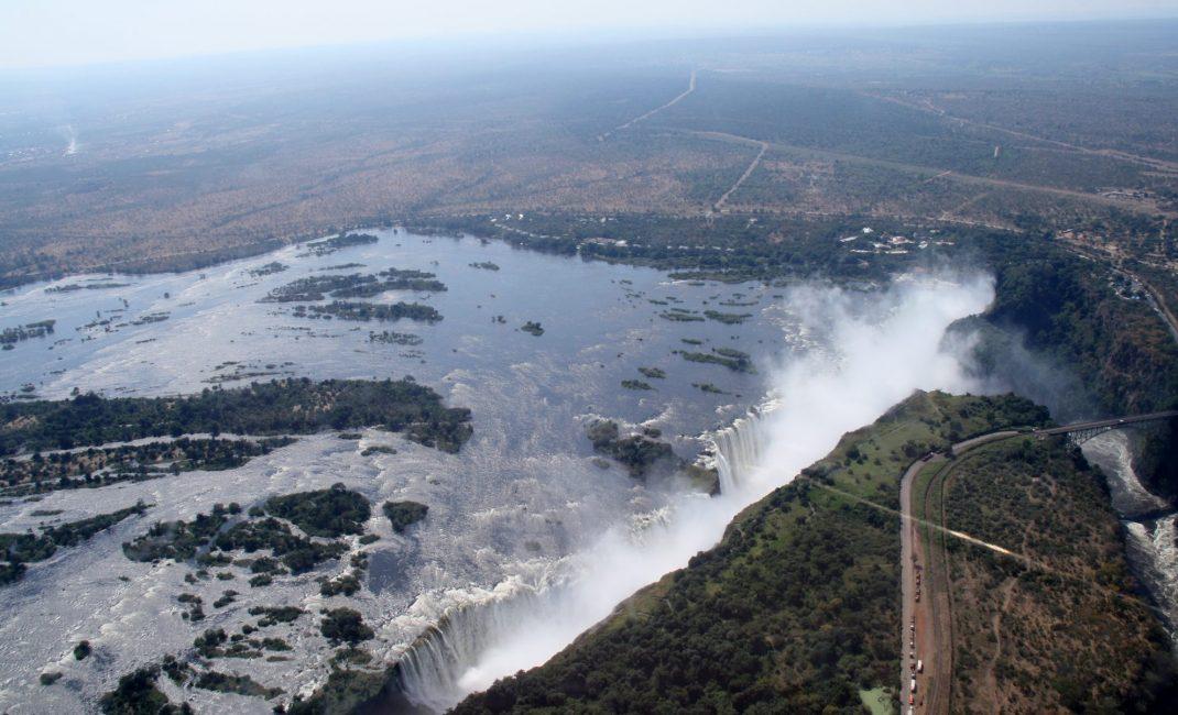 De Victoriawatervallen vanuit de lucht