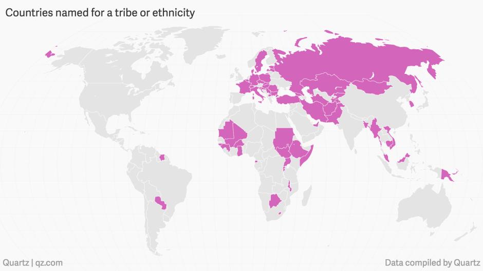 Herkomst landsnamen op basis van stam