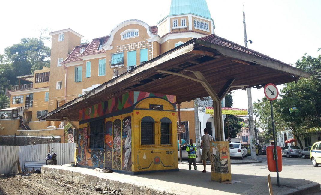 Het tramstation van Santa Teresa. De tram nemen schijnt een aanrader te zijn, maar die werd toen heraangelegd..