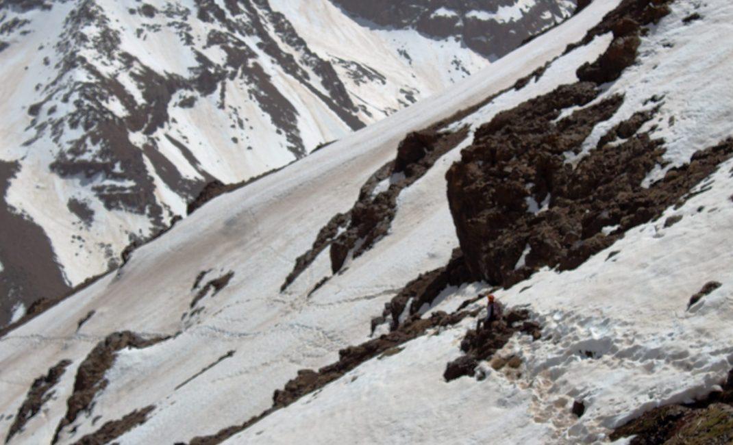 Afdaling van 3.600m naar Refuge des Mouflons.
